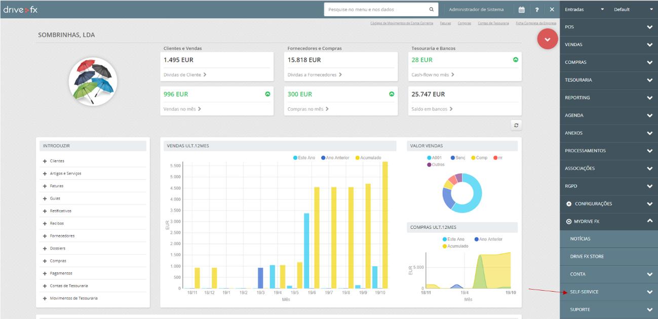 dashboard de análise de negócio do Software certificado Drive FX
