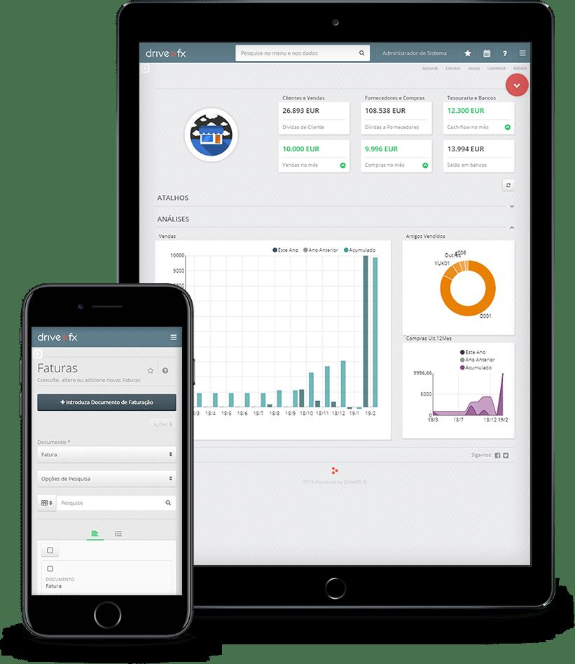 Apresentação do programa de Gestão Drive Fx m smartphone e tablet