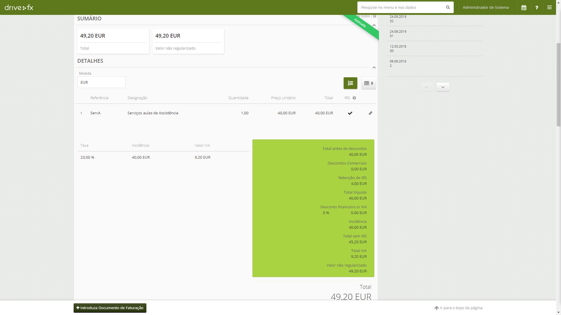 Documento de Faturação Software de gestão online Drive FX Retenção de IRS