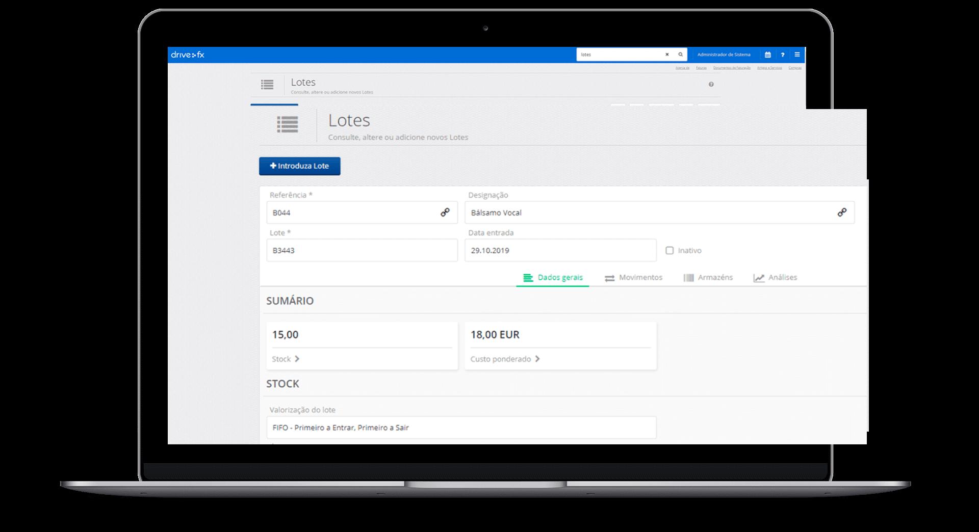 área de gestão de lotes do programa de gestão online Drive FX