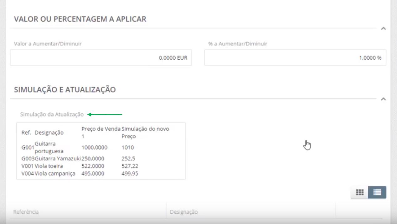 simulação e atualização de preços.